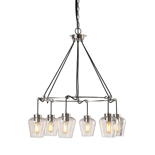 Akron Nickel Six-Light Pendant