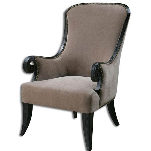 Uttermost Kandy Black and Antiqued Brass 44.25-Inch Armchair