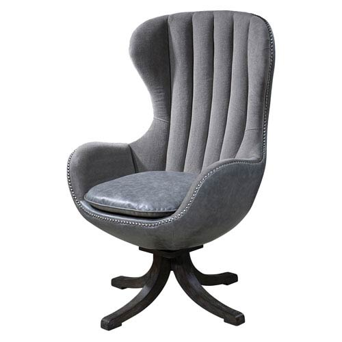 Uttermost Linford Dove Gray Swivel Chair