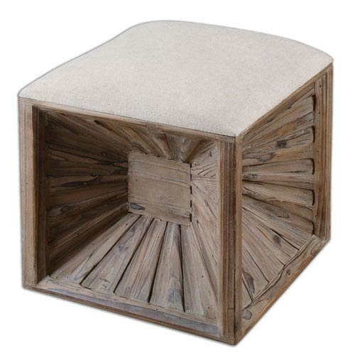 Uttermost Jia Burst and Natural Wooden Ottoman