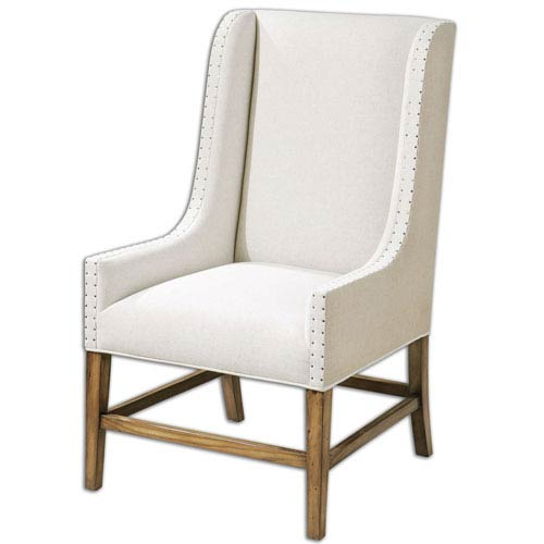 Dalma Tan Linen Wing Chair