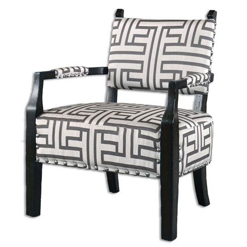 Uttermost Terica Dark Gray And Off White Geometric Accent Chair