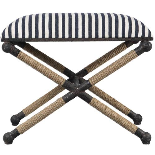 Uttermost Braddock Navy and White Small Bench