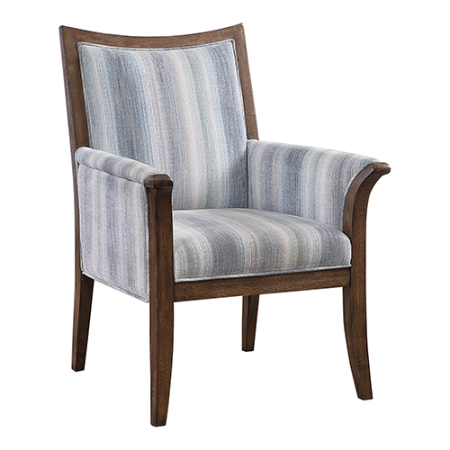 Safiya Coastal Blue and Walnut Accent Chair