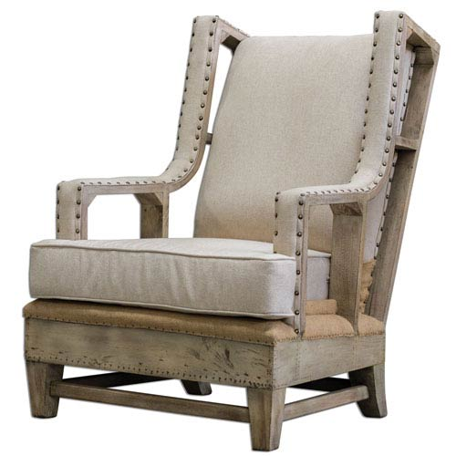 Uttermost Schafer Aged White 44-Inch Arm Chair