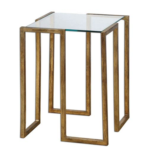 Uttermost Mirrin Antiqued Gold Leaf Accent Table
