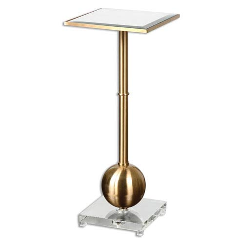 Laton Brass Mirrored Accent Table