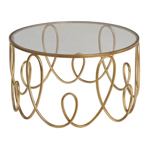 Uttermost Brielle Antique Gold Glass Coffee Table 24620 Bellacor