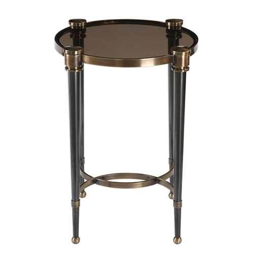 Thora Brushed Black Accent Table