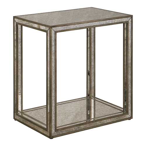 Julie Burnished Antique Gold Mirrored End Table