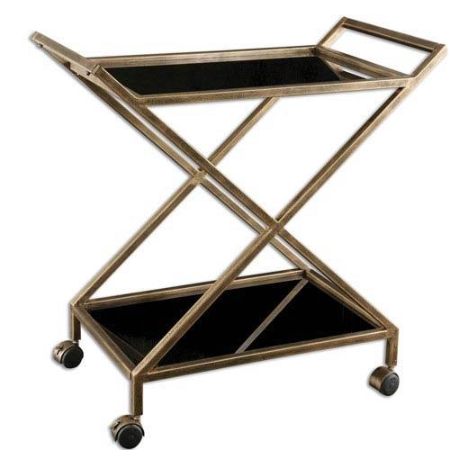 antique bar cart. Uttermost Zafina Antique Gold Bar Cart