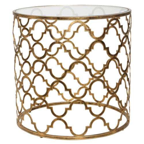 Quatrefoil Gold End Table