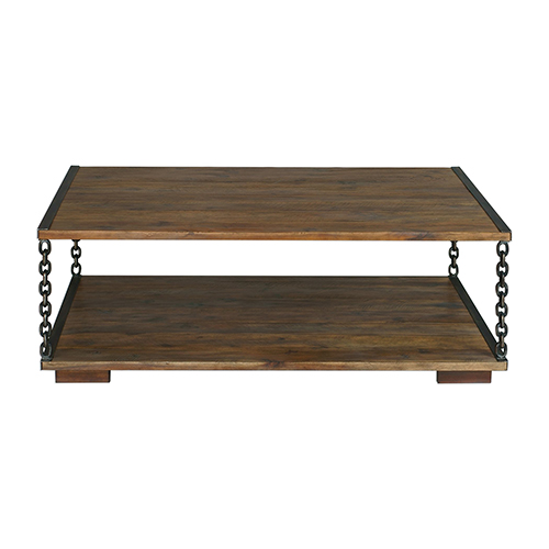 Jair Walnut and Rustic Antique Bronze Chain Link Coffee Table