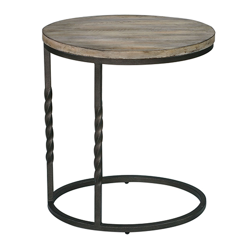 Tauret Aged Steel and Weathered Ivory Side Table