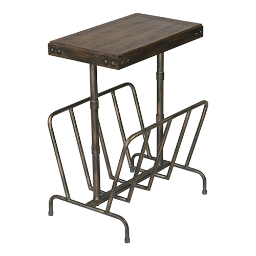 Sonora Burnished Brushed Iron and Walnut Side Table