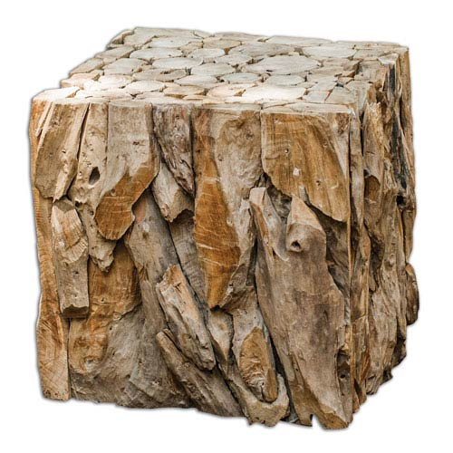 Uttermost Root Teak Wood Bunching Cube Precise Sculpture