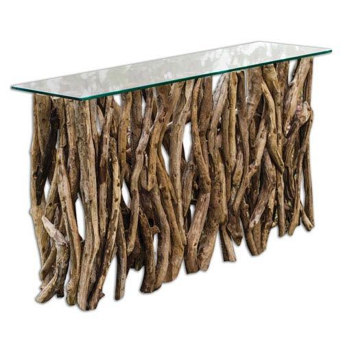 Teak Wood Natural Console Cabinet