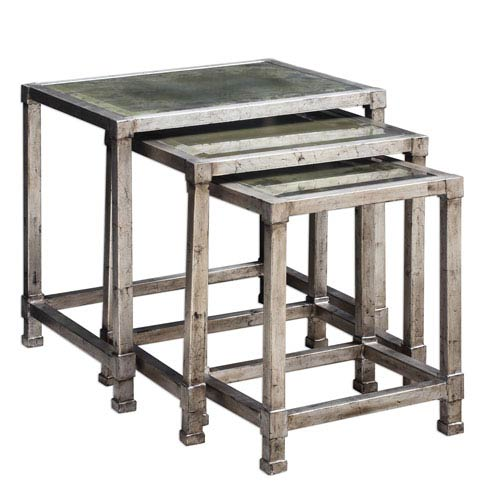 Keanna Antique Silver Nesting Tables, Set of Three