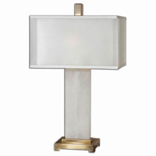 Athanas White Alabaster with Coffee Bronze Two Light Table Lamp