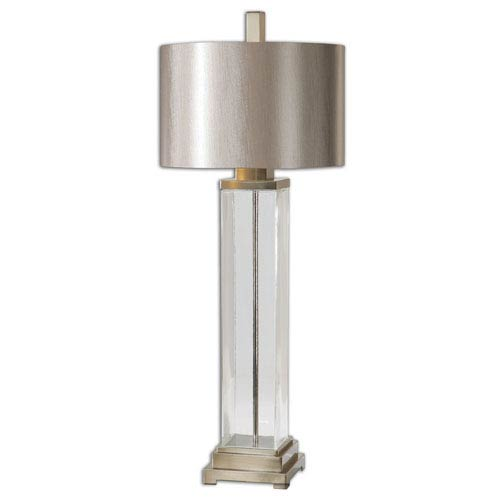 Uttermost Drustan Clear Glass and Brushed Nickel One Light Table Lamp