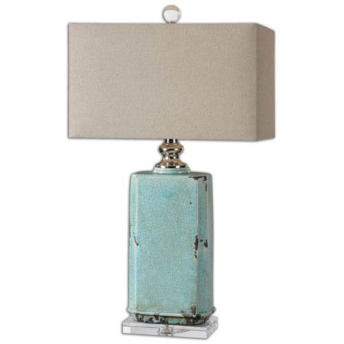 Adalbern Blue One-Light Crackle Table Lamp