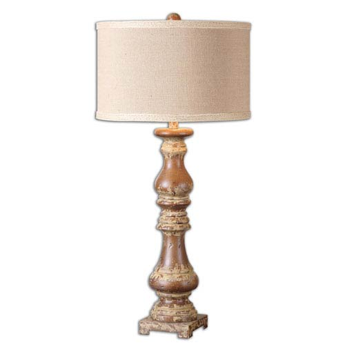 Uttermost Montoro Stain and Antiqued Distressed Ivory One Light Table Lamp