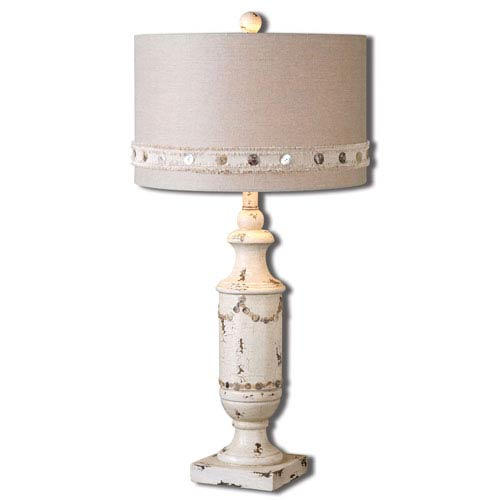 Uttermost Lacedonia Distressed Ivory One-Light Table Lamp