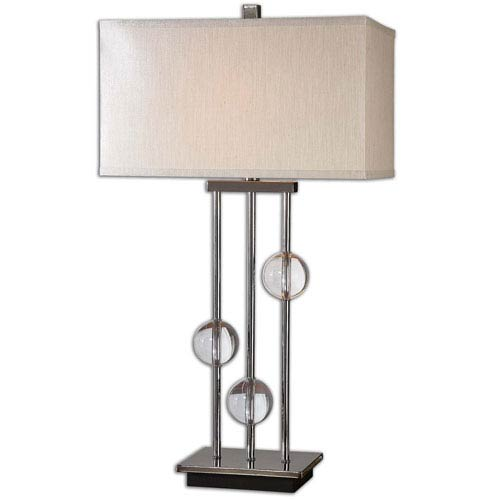 Uttermost Rodeshia Black Chrome and Crystal One-Light Modern Table Lamp