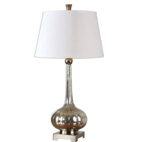 Uttermost Oristano Polished Nickel One-Light Glass Table Lamp