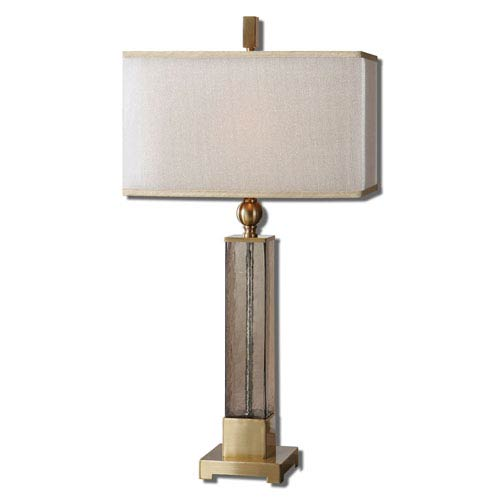 Uttermost Caecilia Light Amber and Brushed Brass One-Light Table Lamp