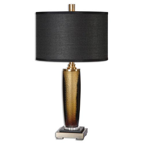 Uttermost Circello Black and Amber Textured Glass One-Light Table Lamp