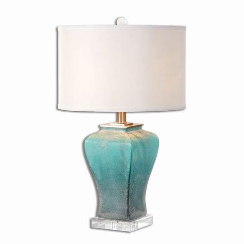 Uttermost Valtorta Blue Green Glass One-Light Table Lamp