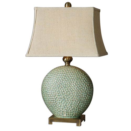 Green table lamps free shipping bellacor destin aquamarine glaze one light table lamp aloadofball Choice Image