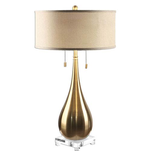 Uttermost Lagrima Brushed Brass Two-Light Table Lamp