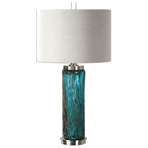 Uttermost Almanzora Blue One-Light Glass Table Lamp