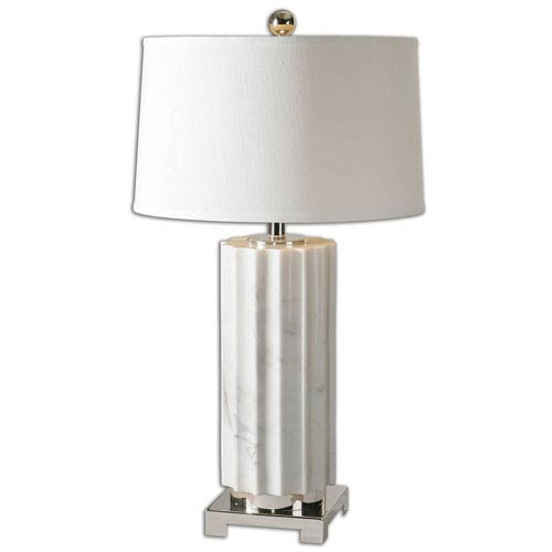 Castorano White and Polished Nickel One Light Table Lamp