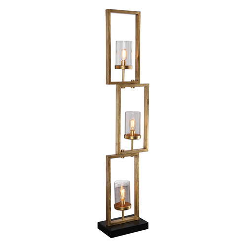 Cielo Gold Staggered Rectangles Three-Light Floor Lamp