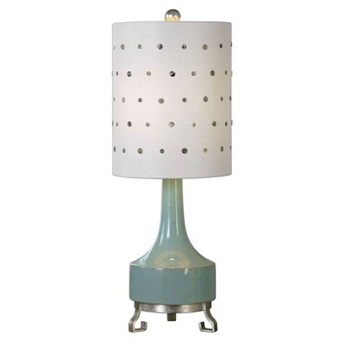 Green table lamps free shipping bellacor cayucos distressed pistachio green one light table lamp aloadofball