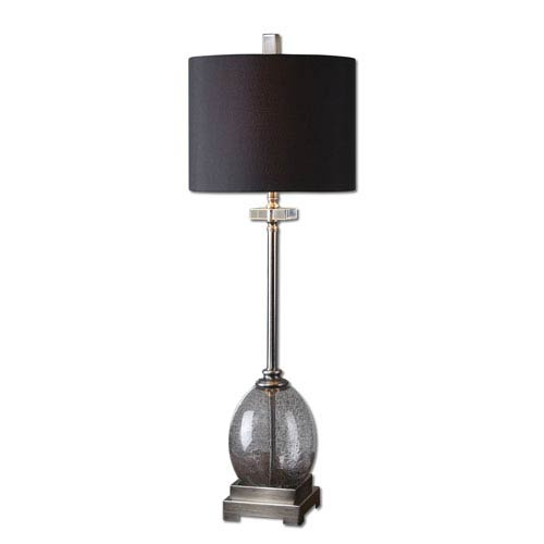 Uttermost Denia Burnished Brushed Aluminum and Charcoal Gray One-Light Table Lamp