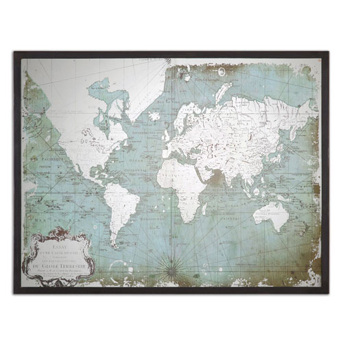 Uttermost Mirrored World Map by Grace Feyock: 44 x 32.5-Inch Print Reproduction