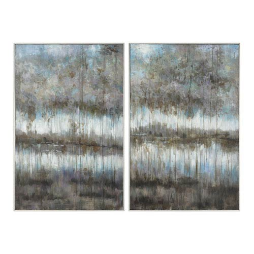 Gray Reflections Landscape Art, Set of Two