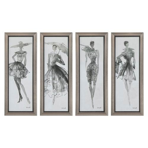Fashion Sketchbook by Grace Feyock: 16 x 40-Inch Wall Art, Set of Four