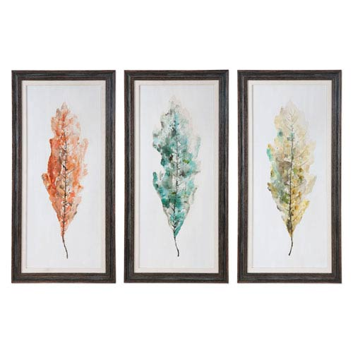Uttermost Tricolor Leaves By Grace Feyock 27 X 55 Inch Wall Art Set Of Three