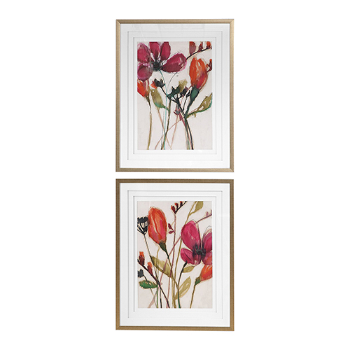 Vivid Arrangement Floral Prints, Set of 2
