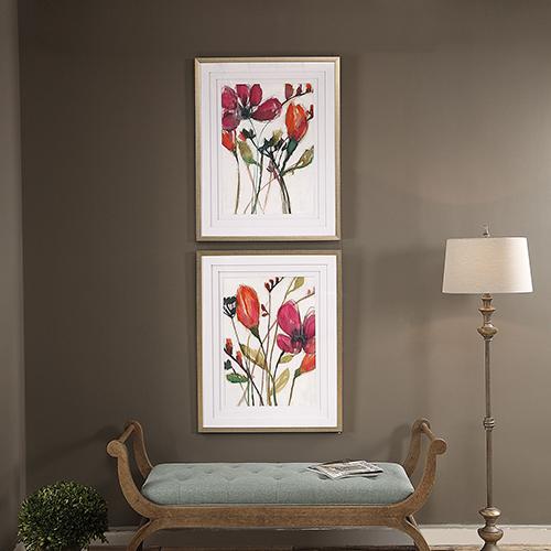 Vivid Arrangement Floral Prints, Set of 2
