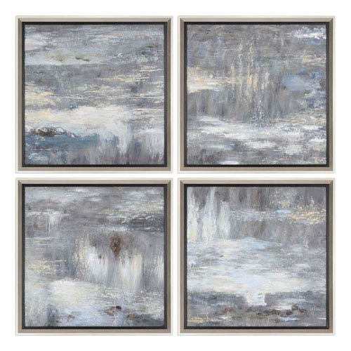 Shades Of Gray Hand Painted Art, Set of Four