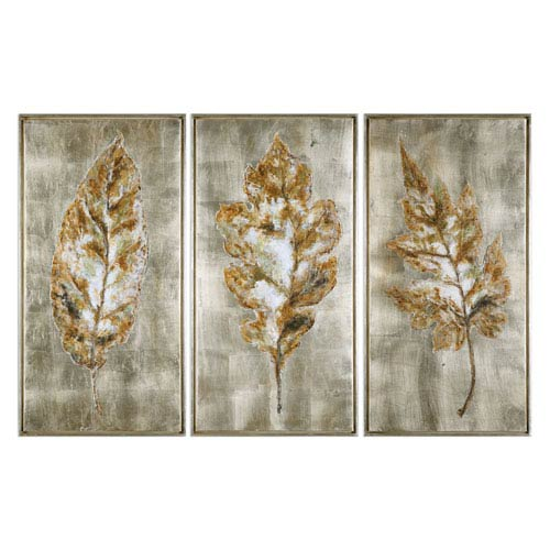 Champagne Leaves Modern Wall Art, Set of 3