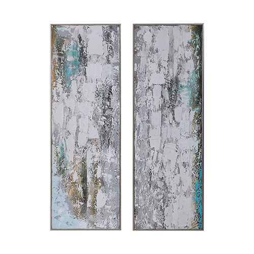 Aged Fences Abstract Wall Art, Set of Two