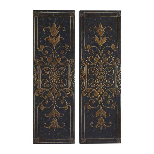 Melani Black Decorative Panels, Set of 2