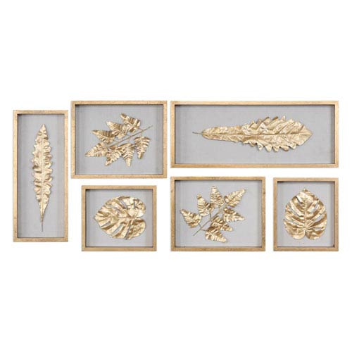 Golden Leaves Shadow Box, Set of Six